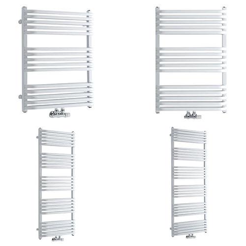 Milano Bow White D Bar Heated Towel Rail Various Sizes