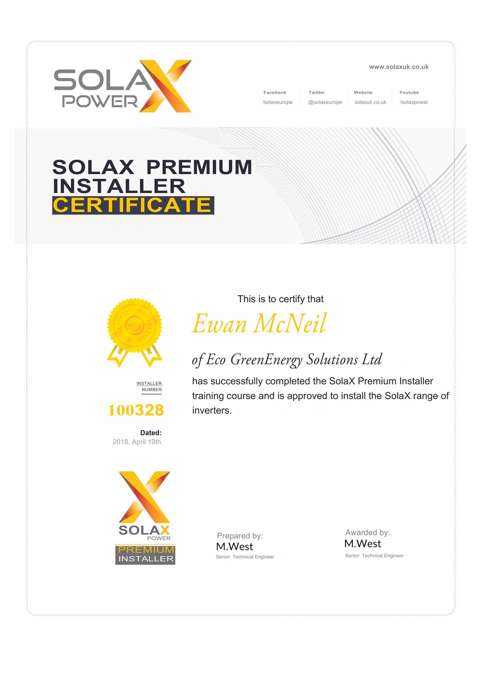 SolaX Certificate 1