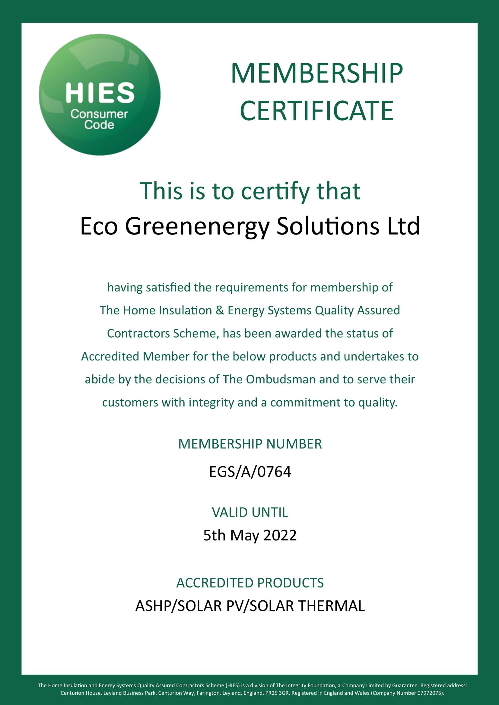 HIES Membership Certificate ECO 1