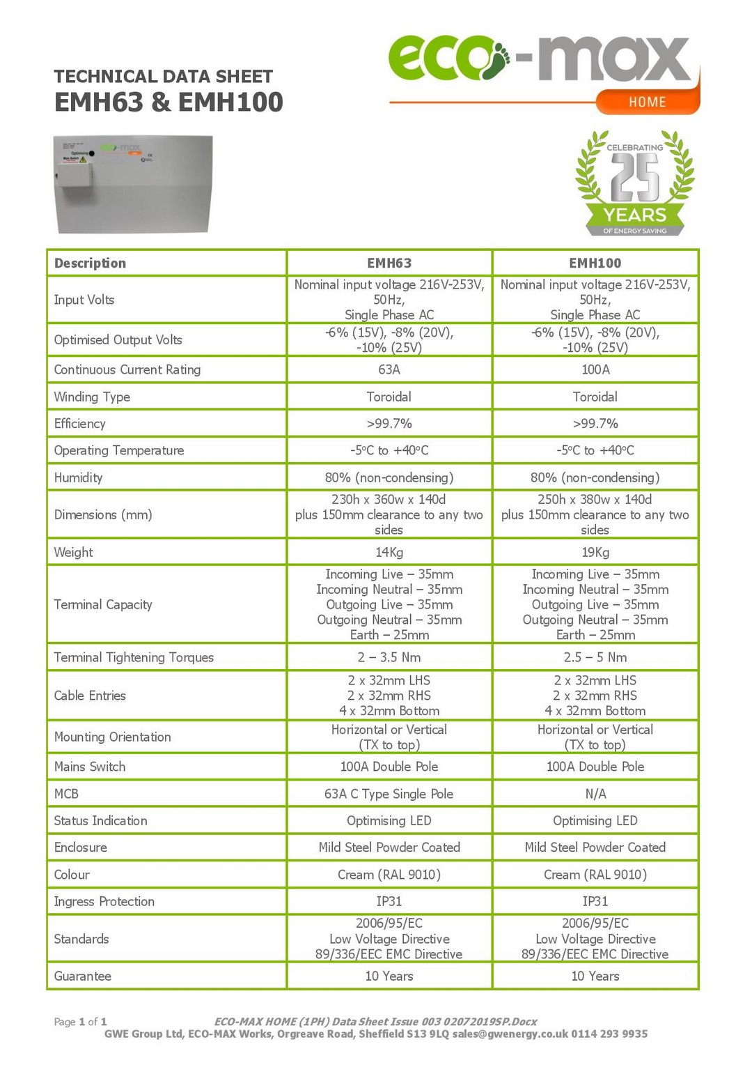 Rolec Solar iBoost Eco Max product data sheet 1 page 003 Web